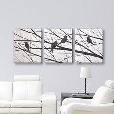 SALE Bird Silhouette Wall Art Canvas Art Original Painting Home Decor Modern Art Tree Wall Decor Black & White Paintings Wall Hangings 48x20