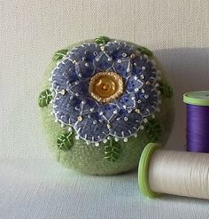 Handmade Pincushion Periwinkle Blue Flower by QuiltShenanigans