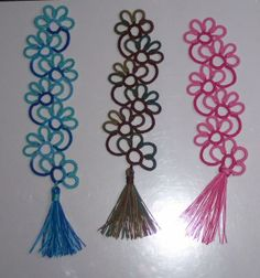 Kersti Floral tatted bookmark. 2 with Rachael's (xstchntat) Tassel I forgot to keep count and there is an extra flower on one :)