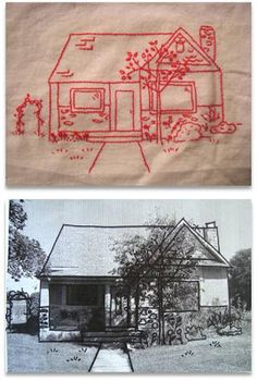 Embroidery Pattern I WANT TO DO THIS OF OUR HOUSE ----How to turn your house into a redwork. - Learn how to take a picture and make it into the embroidery pattern. This embroidery tutorial will show you how to scan, trace, transfer and stitch. Embroidery Designs, Embroidery Art, Embroidery Applique, Cross Stitch Embroidery, Machine Embroidery, Vintage Embroidery, Embroidery Digitizing, Beginner Embroidery, Mexican Embroidery