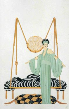 "CLASSIC ERTE' ART DECO BOOK PLATE PRINT ""PILLOW SWING"" vALENTINE gIFT"