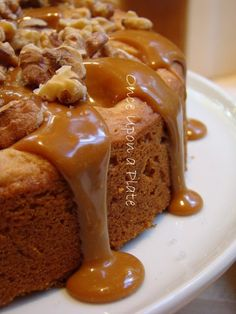 Salted Caramel Apple Cake with toasted Walnuts