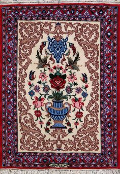 "Buy Esfahan Persian Rug 2' 3"" x 3' 2"", Authentic Esfahan Handmade Rug"
