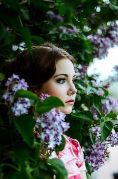 girl and lilacs