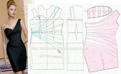 Modelagem vestido de um ombro só com drapeado na altura da cintura. Fonte: https://www.facebook.com/photo.php?fbid=678932935468981=a.262773027084976.75978.143734568988823=1