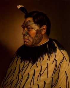 Tamati Waka Te Puhi oil on canvas painting by G. At Auckland Art Gallery. Maori Face Tattoo, Ta Moko Tattoo, Face Tattoos, Polynesian People, Polynesian Tattoos, Auckland Art Gallery, Maori People, Tribal Warrior, New Zealand Art