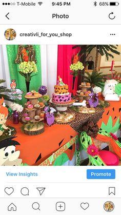 Flintstones Pebbles 1st Birthday Birthday Party Ideas | Photo 1 of 11