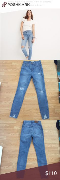 NWOT Madewell High Rise Curvy Fit Skinny Jeans Madewell Curvy jeans in ontario wash size 26, extremely flattering & make the booty pop! Just a bit snug on me as I'm usually a size 27. Never worn or washed. Currently backordered online until June! Price is firm as of right now. Madewell Jeans Skinny