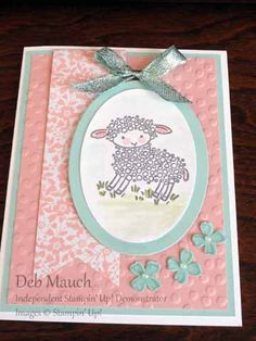 Easter Lamb by dcmauch - Cards and Paper Crafts at Splitcoaststampers Sheep Cards, Easter Lamb, Cardmaking And Papercraft, Wink Of Stella, Vintage Birthday, Mothers Day Cards, Animal Cards, Baby Cards, Homemade Cards