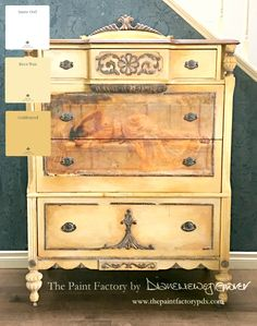 Items similar to Girl in Yellow Drapery Dresser on Etsy Painted Furniture, Diy Furniture, John William Godward, Trim Work, Shades Of Yellow, Shabby Chic Decor, Drapery, Chalk Paint, Paint Colors