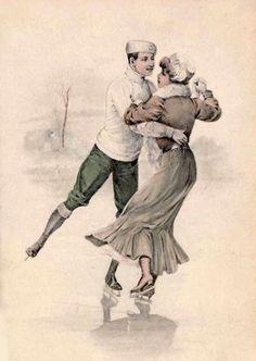 Vintage Christmas Cards, Vintage Cards, Vintage Images, Skating Pictures, Nostalgia Art, Christmas Typography, Christmas Wonderland, Ice Skating, Figure Skating