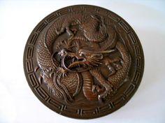 Chinese Bronze Jewelry Box, Dragon Decoration, Marked. Diameter 8.5 cm. Ht 3 cm.