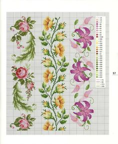 ru / Фото - I Lavori Femminili di Mani di Fata: Bordure a Punto Croce 20 - tymannost Cross Stitch Boarders, Cross Stitch Bookmarks, Cross Stitch Rose, Cross Stitch Flowers, Cross Stitch Charts, Cross Stitch Designs, Cross Stitching, Cross Stitch Embroidery, Embroidery Patterns