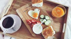 Heart eggs breakfast in bed