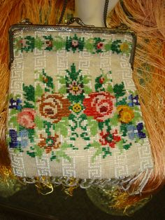 Colorful Vintage Beaded Purse - Needlepoint