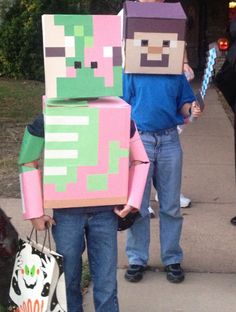 Home Made Mine Craft Zombie PigMan and Steve costumes....Reef wants to be a Zombie Pigman for Halloween...