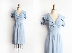 vintage 1950s dress // 50s blue cotton wiggle dress with sailor collar