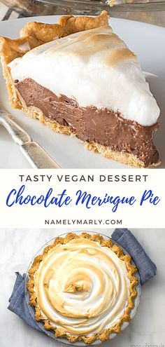 Make the holidays merrier with this delicious vegan Meringue Pie recipe! It's a silky smooth chocolate cream pie with light and fluffy egg-free meringue on top. This will be the star of your dessert table!   #chocolatemeringuepie #veganpie #veganholidaybaking #veganpie #namelymarly