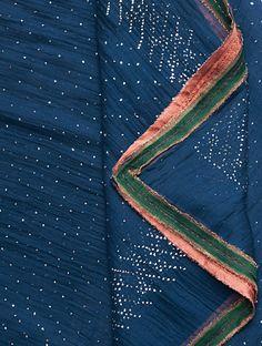 Buy Navy Mukaish Embellished Chanderi Dupatta Online at Jaypore.com