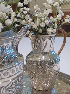 Baby's Breath in Vintage Sterling Silver Pitchers Silver Trays, Silver Plate, Silver Vases, Silver Rings, Silver Jewelry, Vintage Silver, Antique Silver, Antique Vases, Vintage Vases