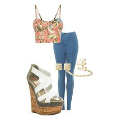 Cute crop top and fabulous Skylar wedges for a cute summer look.