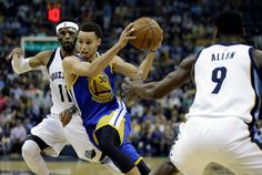 Description of . Golden State Warriors guard Stephen Curry (30) moves the ball between Memphis Grizzlies guard Mike Conley (11) and Memphis Grizzlies forward Tony Allen (9) in the first half of Game 4 of a second-round NBA basketball Western Conference playoff series Monday, May 11, 2015, in Memphis, Tenn. (AP Photo/Mark Humphrey)