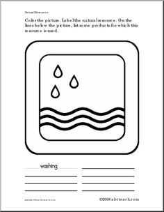 coloring worksheet natural resource water color the picture label the natural resource