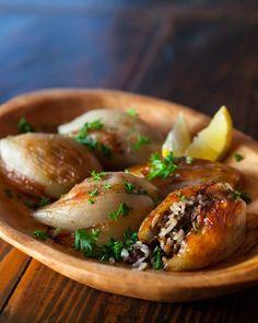Lebanese Roasted Stuffed Onions ~ http://steamykitchen.com
