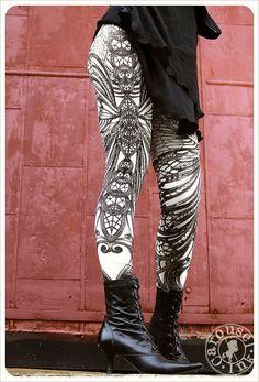 Filigree Art Nouveau Leggings by Carousel Ink -  IVORY Womens Legging - Printed Tights - MEDIUM