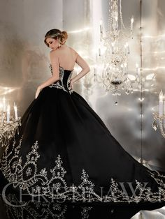 Christina Wu Style 15531: Strapless heavily beaded and embroidered sweetheart neckline satin ball gown. Corset back and Semi Cathedral train. #wedding