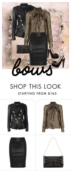 """""""Bad to the Bows"""" by chelseykass ❤ liked on Polyvore featuring Balmain, Yves Saint Laurent, Joseph, Zac Posen and Valentino"""