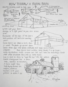 Learn To Draw How to Draw Worksheets for Young Artist: How To Draw A Rural Barn, Art Lesson Drawing Lessons, Drawing Techniques, Art Lessons, Drawing Tips, Animal Drawings, Pencil Drawings, Art Handouts, Barn Art, Art Worksheets