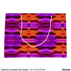 Tapestry of purple and orange large gift bag (Sold - CT) Thank you!