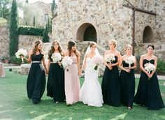 Love the idea of the maid of honor in a different color dress Lilac Bridesmaid Dresses, Black Bridesmaids, Wedding Bridesmaids, Wedding Attire, Wedding Dresses, Different Color Dress, Different Dresses, Maid Of Honor Dress Different, Maid Of Honour Dresses