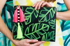 Banana Leaf Zip Clutch // JUNGLE QUEEN by Ann Howell Art