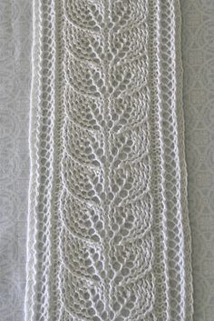 Column of Leaves Scarf pattern by Brooke Nelson Brooke's Column of Leaves Knitted Scarf Pattern pattern by Brooke Nelson Lace Knitting Patterns, Lace Patterns, Knitting Stitches, Stitch Patterns, Knit Scarf Patterns, Leaf Knitting Pattern, Knitting Scarves, Free Knitting, Knit Or Crochet