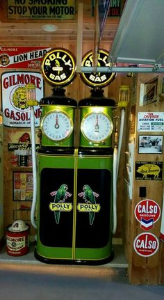 RARE Restored Original Dual Clock Faced Gas Pump - Polly Gasoline