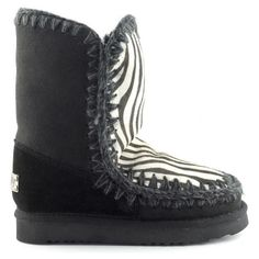 Mou Eskimo 24 Limited Edition Short Boots Women Black/Front Zebra White - MOU