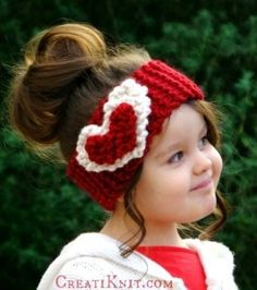 Free knitting pattern for Heart Headband with sizes from baby to adult