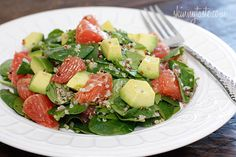 Spinach and Quinoa Salad with Grapefruit and Avocado | Totally making this today (no grapefruit, but i have strawberries!)