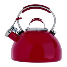 2L Porcelain emamel whistling kettle in red - retro, lovely and in red, its like it was made for Valentine's day