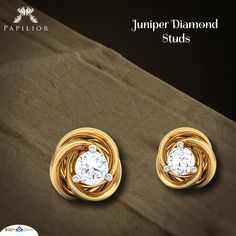 Buy Single Stone Diamond Earrings at Affordable Price. A simple and cheerful represent design of Juniper Diamond Studs and purity in gold. Solitaire Earrings, Diamond Hoop Earrings, Diamond Studs, Gold Jhumka Earrings, Gold Earrings Designs, Baby Earrings, Stud Earrings, Gold Jewelry, Jewellery