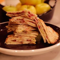 Quesadilla Wedges with Golden Delicious Apple, Smoky Bacon, Bleu Cheese and Truffle-Honey