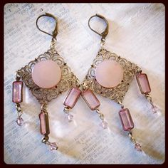 These delicate divas are now in the CraftyHope Etsy shop. #earrings #prom #handmadejewelry #handmade #pink #rosequartz #upcycled #recycled #foundobjects #feminine #love #pretty #prettyinpink