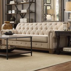 Tribecca Home Chesterfield Tufted Scroll Arm Sofa | Overstock.com Shopping - The Best Deals on Sofas & Loveseats