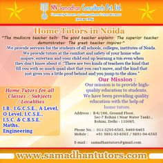Samadhan Tutors provide highly qualified, professional, experienced Home tutors in Noida for students of all reputed schools