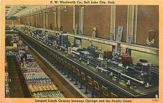 Woolworth lunch counter in downtown, SLC Plates For Sale, Salt Lake City Utah, Pacific Coast, Vintage Postcards, Railroad Tracks, The Past, Old Things, Exterior, Collection