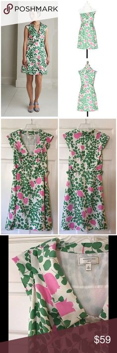 """Moulinette Soeurs Underwood Dress 💯 silk A leafy grove of silk twill, scattered with bright pink tulips and grass-green buttons. By Moulinette Soeurs. Side tabs and zip Silk; acetate lining Underarm across 14"""". Length 34"""". EUC. Retail price $168. I am happy to combine shipping with my other listings! Please ask before purchasing and I will remove the immediate payment requirement on those items. Smoke free and pet free home. Anthropologie Dresses"""