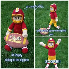 "Crochet doll pattern by Snappy Tots. 19"" doll with clothes, ball cap and football helmet."