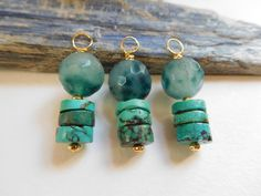 Turquoise Heishi and Blue Green Spotted Quartz Pendants w/ Gold Accents, Talisman for Clarity, Intuition, Vision Quest, Connecting w/ Nature by EternalBlissed on Etsy https://www.etsy.com/listing/470499316/turquoise-heishi-and-blue-green-spotted